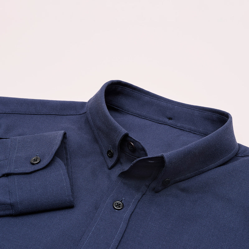 The Merino Wool Oxford Shirt Navy Blue Woolday 7