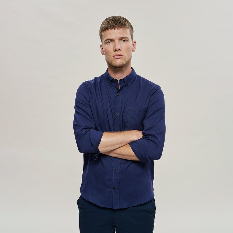 The Merino Wool Oxford Shirt Navy Blue Woolday 8