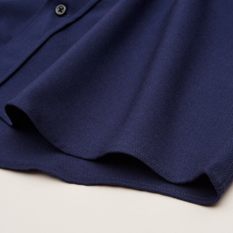 The Merino Wool Oxford Shirt Navy Blue Woolday 9