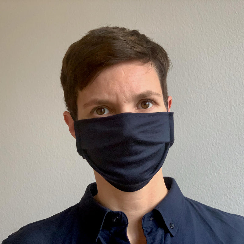 The Merino Wool Face Mask Navy Blue Woolday 2