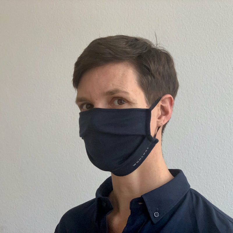 The Merino Wool Face Mask Navy Blue Woolday 3