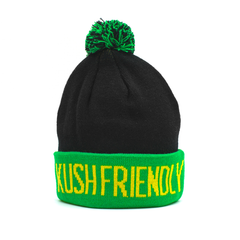 Kush Life Green and Black Pom Beanie