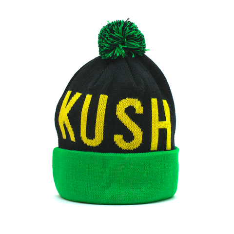 Green and Black Kush Life Pom Beanie