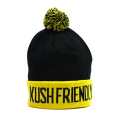 kush friendly soft black and yellow weed beanie