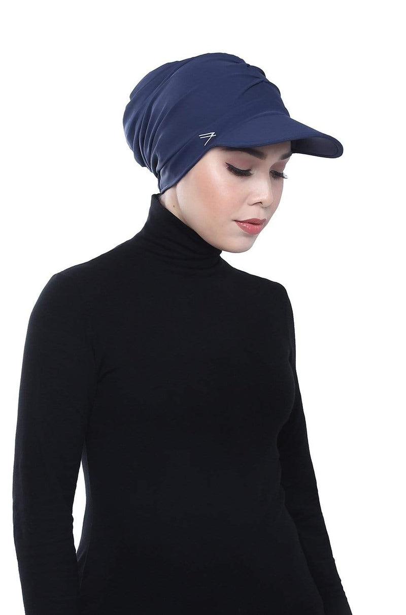 Aqua Sol Turban Cap in Navy