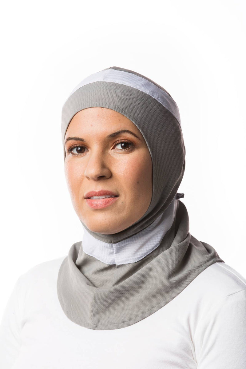 Sports Hijabs Capsters Runner in Light Grey/White