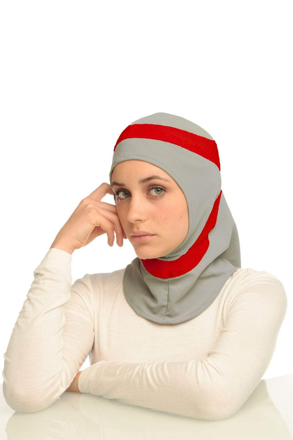 Sports Hijabs Capsters Runner in Red/Light Grey