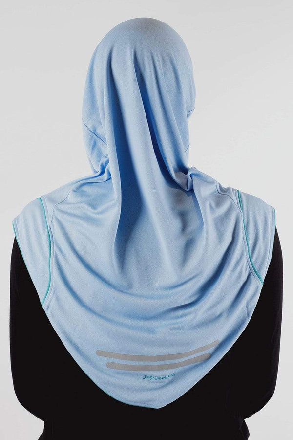 Sports Hijabs Juz Demure Drifit Hijab in Blue (Green Trim)