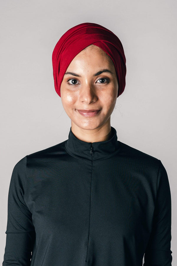 Instant Twist Turban in Deep Red
