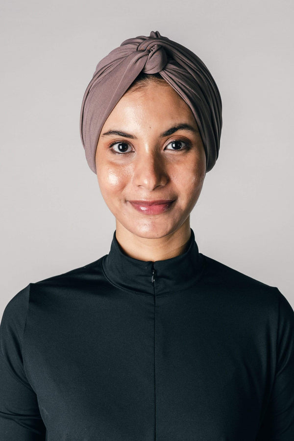 Instant Twist Turban in Taupe
