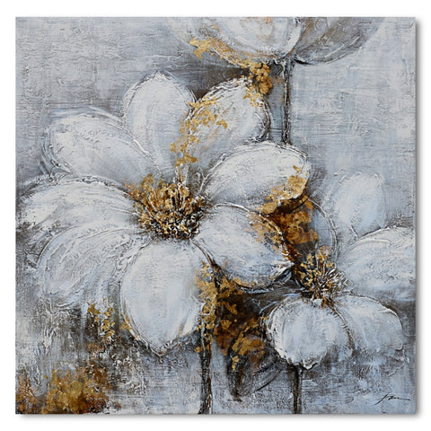 Flowers with Gold - 60x60cm Embellished Mixed Media Art - EA133