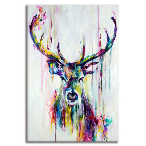 Stylized Deer Portrait - Unframed Canvas Print (BXY252)