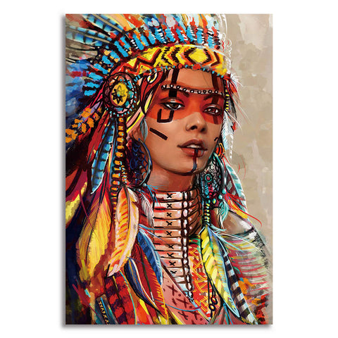 Woman Headdress - Unframed Canvas Print (BXY309)