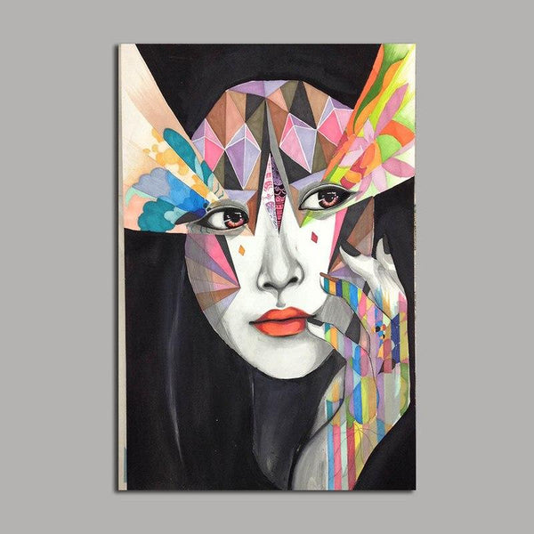 Asst Stylized Abstract Woman Portrait/Graffiti Style Art - Unframed Canvas Print (BXY249c)