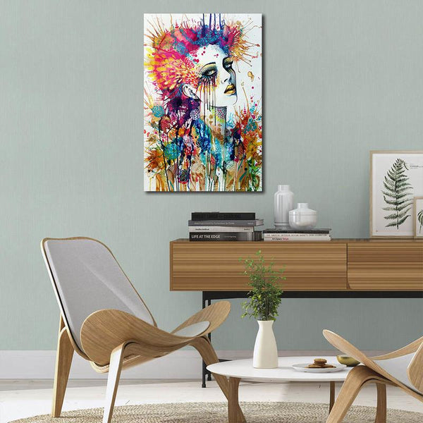 Asst Stylized Abstract Woman Portrait/Graffiti Style Art - Rolled Canvas Print Only (BXY249c)