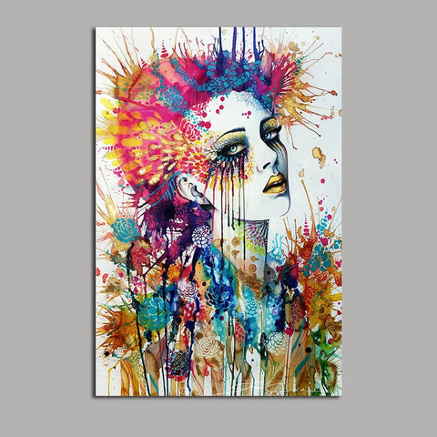 Asst Stylized Abstract Woman Portrait/Graffiti Style Art - Unframed Canvas Print (BXY249)