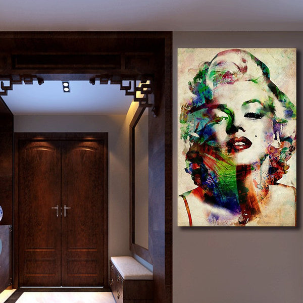 Coloured Marilyn Monroe - Rolled Canvas Print Only (BXY279)