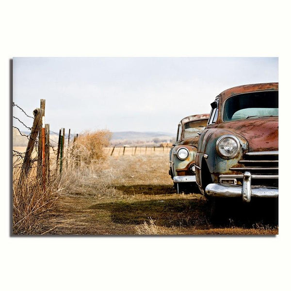 Asst Vintage Car - Rolled Canvas Print Only - (BXY222c)