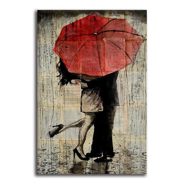 Asst Couple with Red Umbrella - Rolled Canvas Print Only (BXY206b)