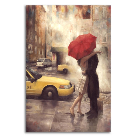 Asst Couple with Red Umbrella - Unframed Canvas Print (BXY206)