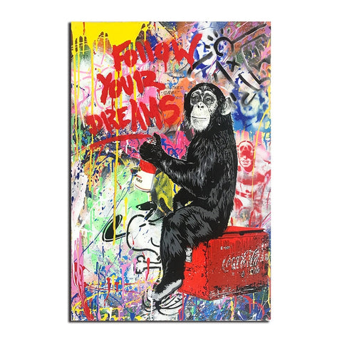 Motivational Monkey - Rolled Canvas Print Only (BXY303)