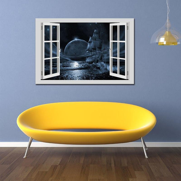 Asst Window to a Full Moon - Unframed Canvas Print (BXY229b)