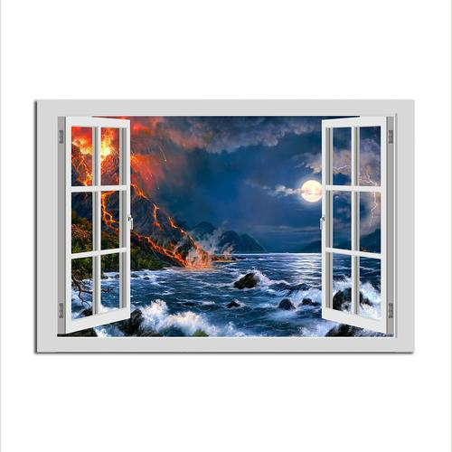 Asst Window to a Full Moon - Unframed Canvas Print (BXY229c)