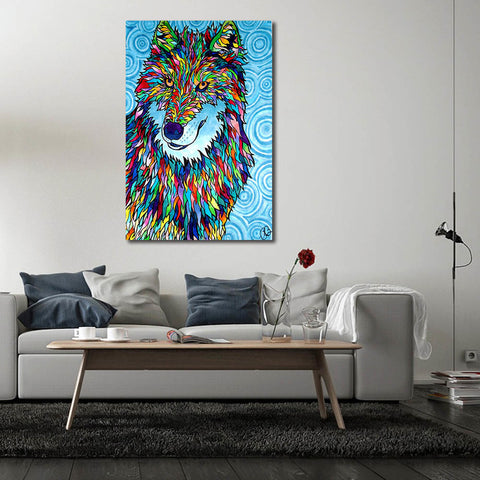 Coloured Wolf - Unframed Canvas Print (BXY294)