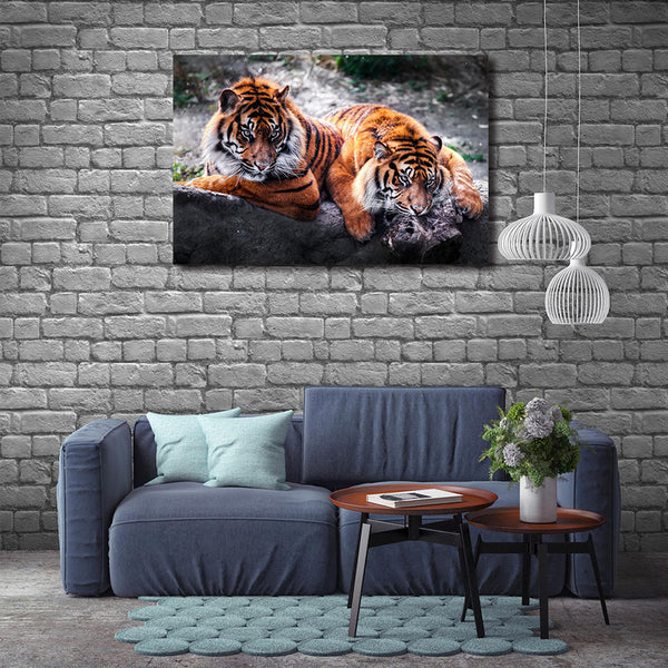 Asst Animals Elephant/Tiger/Lion/Horse/Macaw - Unframed Canvas Print (BXY293)