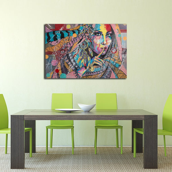 Dream Catcher Woman Portrait - Rolled Canvas Print Only (BXY297)
