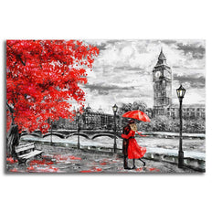 Romantic Black and White Scene with Red - Rolled Canvas Print Only (BXY285)