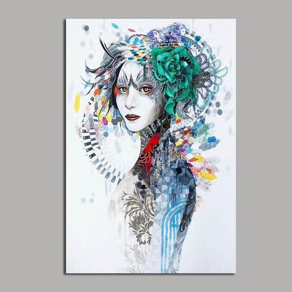 Asst Abstract Female Portrait Art - Unframed Canvas Print (BXY211b)