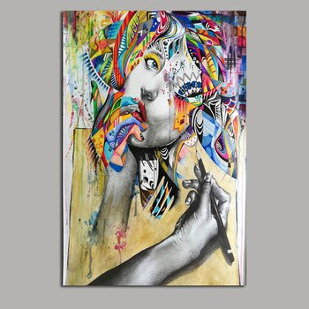 Asst Abstract Female Portrait Art - Unframed Canvas Print (BXY211)
