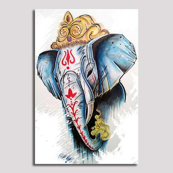 Asst Stylized Artistic Elephant - Rolled Canvas Print Only (BXY227b)