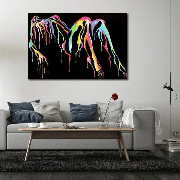 Abstract Nude Dripping Paint - Unframed Canvas Print (BXY210c)