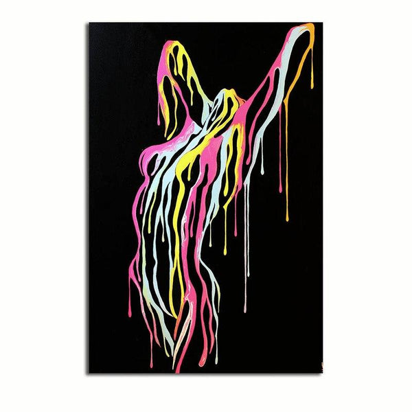 Abstract Nude Dripping Paint - Rolled Canvas Print Only (BXY210b)