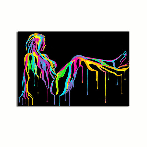 Abstract Nude Dripping Paint - Unframed Canvas Print (BXY210)