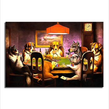 Asst Animals Playing Pool - Unframed Canvas Print (BXY304)