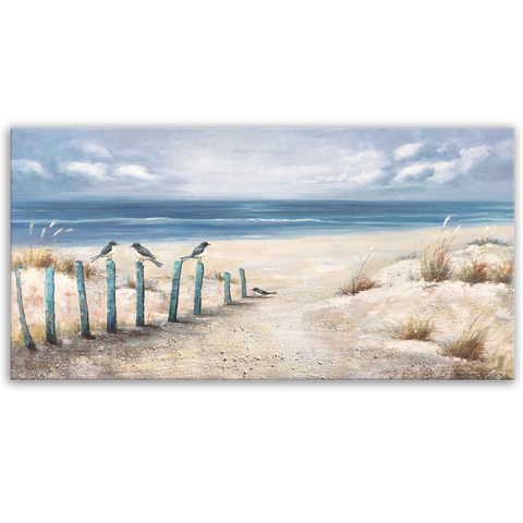 A Humble Beach - Hand Embellished Canvas Art - EA239
