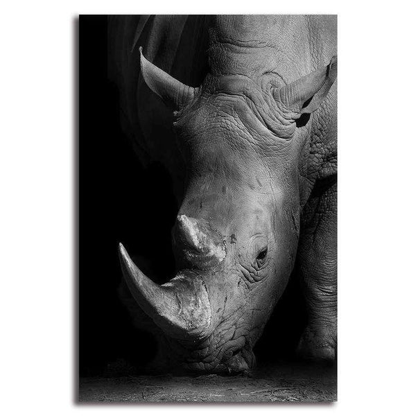 Giraffe/Rhinoceros/Elephant Black and White Portrait - Rolled Canvas Print Only (BXY220b)