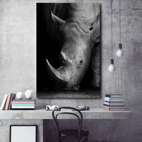 Rhinoceros/Elephant/Giraffe Black and White Portrait - Unframed Canvas Print (BXY220)