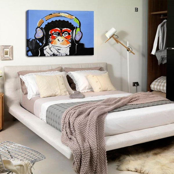 Monkey Headphones - Unframed Canvas Print (BXY267)