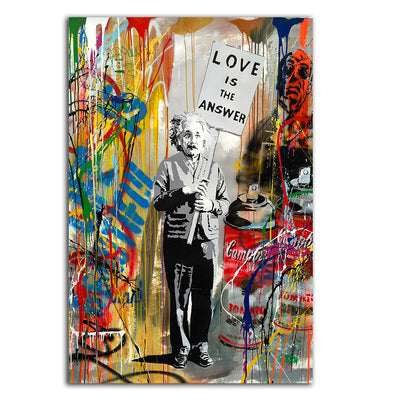 "Einstein ""Love is the Answer"" - Rolled Canvas Print Only (BXY215)"