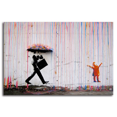 Street Art - Girl in Colourful Rain - Unframed Canvas Print (BXY248)