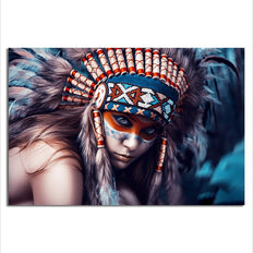 Stunning lady with Feather Headdress - Rolled Canvas Print Only (BXY208)