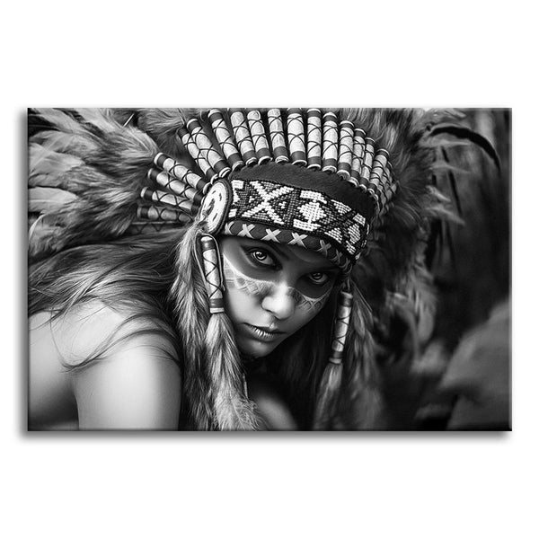 Stunning lady with Feather Headdress - Unframed Canvas Print (BXY208)