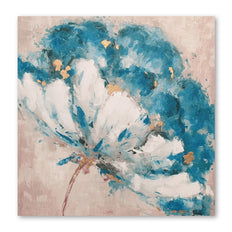 Petals of Blue - Embellished Canvas Art - EA162 - 100x100cm