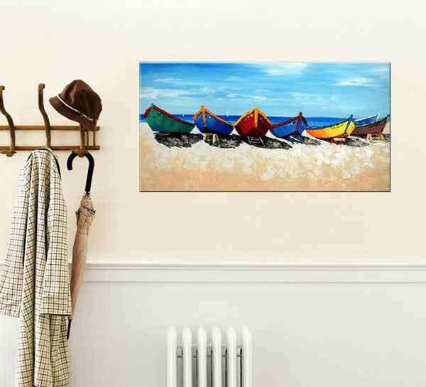Boats by the Beach - YA514 - Priceless ART:  Australia's Largest Range of Affordable ART