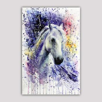 Asst Watercolor Style Horse - Unframed Canvas Print (BXY245c)