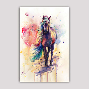 Asst Watercolor Style Horse - Unframed Canvas Print (BXY245)